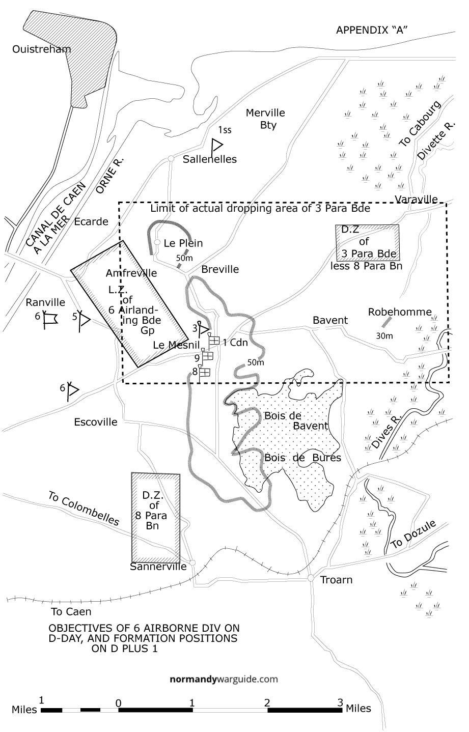 Map trace showing Objectives of 6 Airborne Div on D-Day, and formation positions on D plus 1