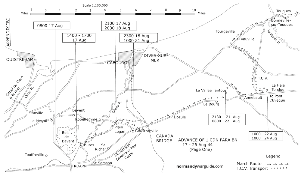 Map trace showing Advance of 1 Canadian Para Battalion on 17 - 26 Aug 44 (Page one)