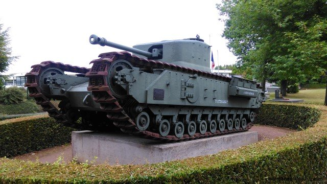 Churchill Crocodile Tank front side, Bayeux Museum
