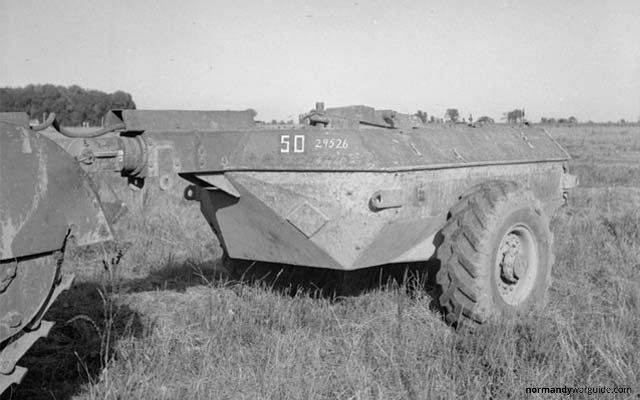 Crocodile Tank trailer closeup, during trials at Eastwell Park 1944