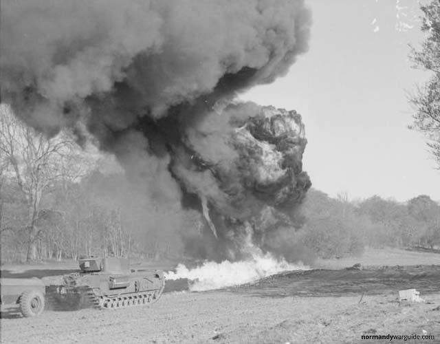 Churchill Crocodile Tank long flame, during trials at Eastwell Park 1944
