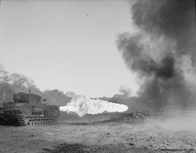 Churchill Crocodile Tank firing flame, during trials at Eastwell Park 1944