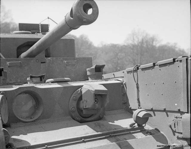 Crocodile Tank flame projector closeup, during trials at Eastwell Park 1944