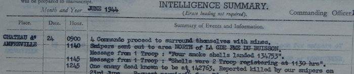 Snippet from No 3 Commando war diary