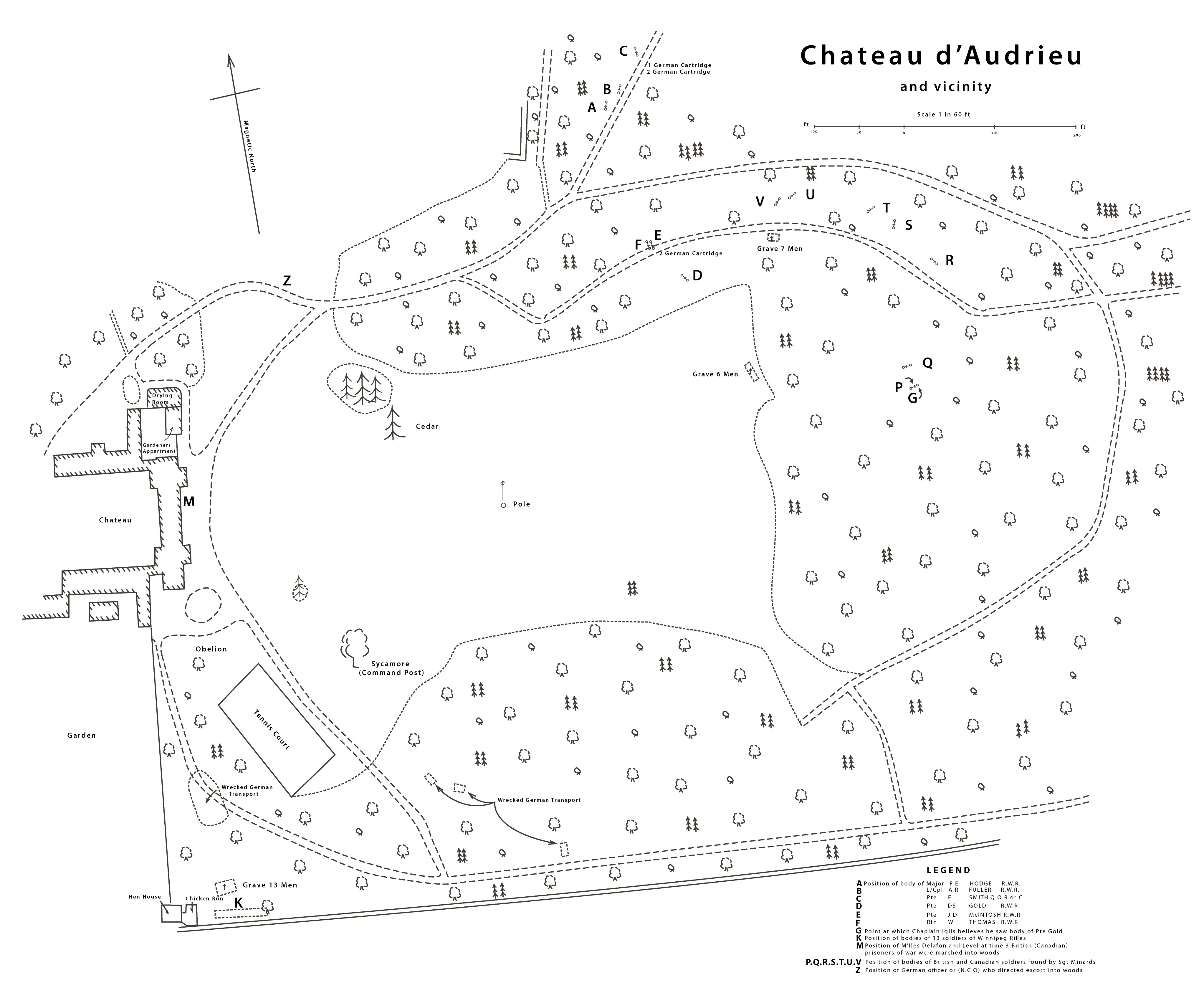 Map of Chateau d'Audrieu massacre