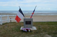 LCH 185 Memorial, Lion-sur-Mer with flags from DDay 75 anniversary, 2019, Normandy