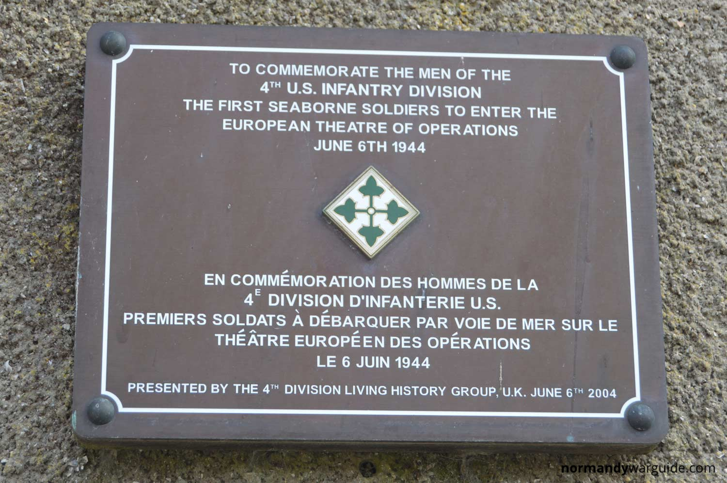 Lovely Plaque to the 4th U.S. Infantry Division, Sainte-Marie-du-Mont  PA38